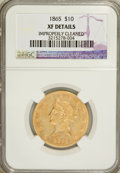 Liberty Eagles, 1865 $10 --Improperly Cleaned--NGC. XF Details....