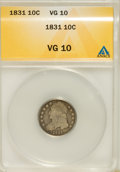 Bust Dimes: , 1831 10C Very Good 10 ANACS. NGC Census: (2/259). PCGS Population(2/265). Mintage: 771,350. Numismedia Wsl. Price for prob...