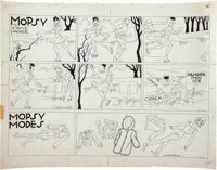 Gladys Parker Mopsy Sunday Comic Strip with Mopsy Modes Topper Original Art, dated 2-16-64 (Bell-McClu