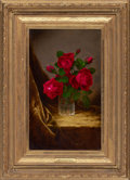 Fine Art - Painting, American:Antique  (Pre 1900), MARTIN JOHNSON HEADE (American, 1819-1904). JacqueminotRoses, circa 1883-1890. Oil on canvas. 20 x 12 inches (50.8 x30...