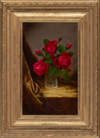 MARTIN JOHNSON HEADE (American, 1819-1904) Jacqueminot Roses, circa 1883-1890 Oil on canvas 20 x