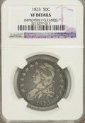Bust Half Dollars, 1823 50C --Improperly Cleaned--VF20 NGC. VF Details. NGC Census:(5/607). PCGS Population (8/642). Mintage: 1,694,200. N...