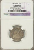 Seated Quarters, 1875-CC 25C --Improperly Cleaned--Very Good 8 NGC. VG Details. NGCCensus: (0/38). PCGS Population (0/53). Mintage: 140,...