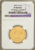 Liberty Eagles: , 1842-O $10 --Improperly Cleaned--NGC. XF Details. NGC Census:(23/164). PCGS Population (16/65). Mintage: 27,400. Numismedia...