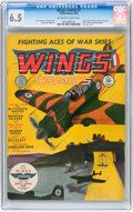 Golden Age (1938-1955):War, Wings Comics #1 (Fiction House, 1940) CGC FN+ 6.5 Off-white towhite pages....