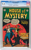 Golden Age (1938-1955):Horror, House of Mystery #3 River City pedigree (DC, 1952) CGC NM 9.4Off-white to white pages....