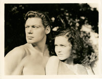 "Johnny Weissmuller and Maureen O'Sullivan in ""Tarzan and His Mate"" (MGM, 1934). Still (8"" X 10"")..."