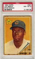 Baseball Cards:Singles (1960-1969), 1962 Topps Lou Brock Star Rookie #387 PSA NM-MT 8. Outstandinghigh-grade rookie of the Hall of Famer Lou Brock, shown here...