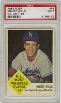 Baseball Cards:Singles (1960-1969), 1963 Fleer Maury Wills N.L. MVP '62 #43 PSA NM 7. Wills ran rampant on the basepaths in 1962, stealing a record 104 bases e...