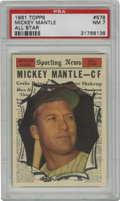 Baseball Cards:Singles (1960-1969), 1961 Topps Mickey Mantle All-Star #578 PSA NM 7. Exceptionalexample of Mantle's All-Star entry in the 1961 Topps issue, wh...