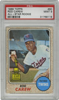 Baseball Cards:Singles (1960-1969), 1968 Topps Rod Carew All-Star Rookie #80 PSA Mint 9. Importantsecond year card for the '67 AL Rookie of the Year, this one...