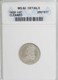 Bust Dimes, 1820 10C Medium 0--Cleaned--ANACS. MS60 Details....