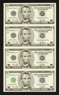 Error Notes:Inking Errors, Fr. 1988-B $5 2001 Federal Reserve Notes. Uncut Sheet of Four. Gem Crisp Uncirculated.. ...