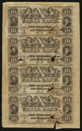 Obsoletes By State:Louisiana, New Orleans, LA- Canal and Banking Co. $10-$10-$10-$10 1846 Uncut Sheet. ...