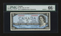 Canadian Currency: , BC-39b $5 1954 Modified Portrait Solid 6's Serial Number. ...