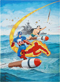 Original Comic Art:Covers, Alex Schomburg Overstreet Comic Book Price Guide #21 CoverFeaturing Captain America, The Human Torch, And The Sub...