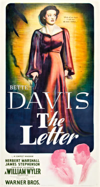 """The Letter (Warner Brothers, 1940). Three Sheet (41"""" X 81"""")"""