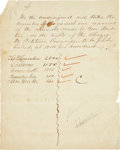 "Autographs:Statesmen, Sam Houston Document Signed. One page, 7.75"" x 9.75"", ca.1854, [Washington, D.C.]. In this document, Houston signs his ..."