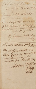 """Autographs:Statesmen, Edwin Waller Court Document Signed Twice. Two pages, 7.75"""" x12.75"""", March 1, 1848, Austin County, Texas, to """"the Sheriff..."""