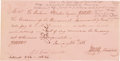 """Autographs:Military Figures, Elisha M. Pease Treasury Note Signed as an endorsement on verso. January 26, 1836, 7.75"""" x 4"""", antique rose colored paper re..."""
