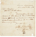 "Autographs:Statesmen, Sam Houston Autograph Naval Order Signed as the first president ofthe Republic of Texas. One page, 7.75"" x 8"", November 10,..."