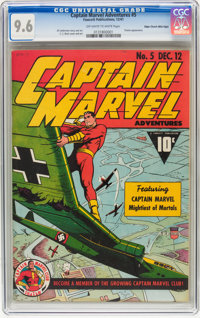 Captain Marvel Adventures #5 Mile High pedigree (Fawcett, 1941) CGC NM+ 9.6 Off-white to white pages