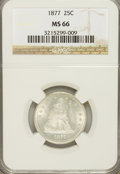 Seated Quarters: , 1877 25C MS66 NGC. NGC Census: (47/36). PCGS Population (49/41).Mintage: 10,911,710. Numismedia Wsl. Price for problem fre...