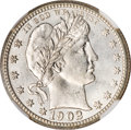 Barber Quarters, 1902-S 25C MS65 NGC....