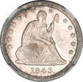 Seated Quarters, 1843 25C MS65 NGC....
