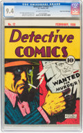 Golden Age (1938-1955):Crime, Detective Comics #12 Mile High pedigree (DC, 1938) CGC NM 9.4 Off-white to white pages....