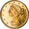 Proof Liberty Half Eagles, 1867 $5 PR66 Cameo PCGS....