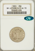 Bust Quarters: , 1831 25C Small Letters AU55 NGC. CAC. B-2. NGC Census: (29/289). PCGS Population (47/201). Mintage: 398,000. Numismedia Ws...