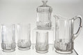 Antiques:Decorative Americana, U.S. Coin Glass: Large Pitcher, Two Tall Glasses, One ShortGlasses, and a Covered Glass Humidor, Central Glass Co. ofWheelin... (Total: 5 Items)