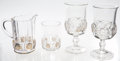 Antiques:Decorative Americana, U.S. Coin Glass: Columbian World's Fair Milk Pitcher, Two WaterGlasses, and One Tumbler, 1893. ... (Total: 4 Items)