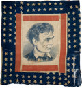 Political:Textile Display (pre-1896), Abraham Lincoln: Magnificent, Colorful Banner Crafted from Elementsof an 1860 Campaign Flag. ...