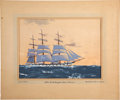 "Antiques:Decorative Americana, Painting: Hunter Wood, ""Full Rigged Ship 'Tamar'""...."
