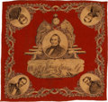 Political:Textile Display (pre-1896), Andrew Johnson: Extremely Rare Cloth Bandana Picturing Him asPresident. ...