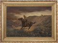 "Western Expansion:Cowboy, Painting: ""The Race"" by G. P. Ohlgart, Circa 1880...."