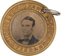 Political:Ferrotypes / Photo Badges (pre-1896), Lincoln & Hamlin: Scarce Oversized 1860 Campaign Ferrotype....