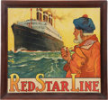 "Transportation:Nautical, ""Red Star Line"" Large Framed Advertising Poster Featuring S.S.Belgenland by H. Cassiers, Circa 1925...."
