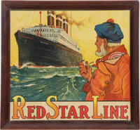 """""""Red Star Line"""" Large Framed Advertising Poster Featuring S.S. Belgenland by H. Cassiers, Ci"""