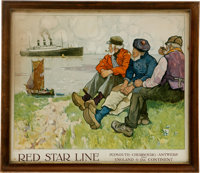 """""""Red Star Line"""" Large Framed Advertising Poster by H. Cassiers"""