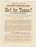 "Miscellaneous:Ephemera, Handbill Promoting Emigration to Texas. One page, 5"" x 6.25"", March15, 1878. The broadside is headed, ""Ho! For Texas! The..."