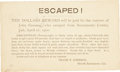 """Miscellaneous:Postcards, Postcard: Reward for the Capture of a California Outlaw, 5.5"""" x3.25"""", postmarked April 14, 1900, addressed to A. C. Busch, ..."""