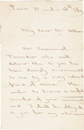"Autographs:Non-American, Charles Baudin Autograph Letter Signed. Two pages, 5.25"" x 8.25"",December 16, 183[?], Paris, to ""My dear Mr. [John M.]..."