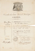 "Autographs:Military Figures, John M. Allen French Passport Signed. One page, 9.5"" x 13.75"", March 13, 1831, Marseille, France. The partly printed passpor..."