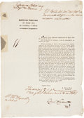 Autographs:Non-American, [Agustin Viesca] Broadside Transmitting a Communication Issued bythe Minister of Internal and External Relations Gutierrez Es...