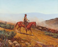 Paintings, NICHOLAS S. FIRFIRES (American, 1917-1990). Cowboy Working the Herd. Oil on artist's board. 13 x 16 inches (33.0 x 40.6 ...