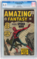 Silver Age (1956-1969):Superhero, Amazing Fantasy #15 (Marvel, 1962) CGC VG+ 4.5 Off-white pages....