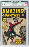 Silver Age (1956-1969):Superhero, Amazing Fantasy #15 (Marvel, 1962) CGC Qualified GD/VG 3.0Off-white to white pages....